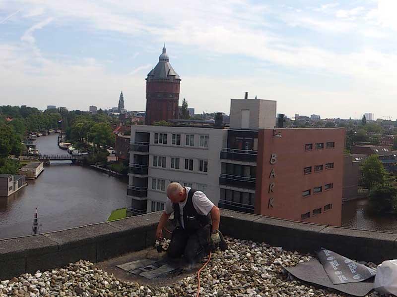 Dakonderhoud groningen op plat dak kleine reparatie